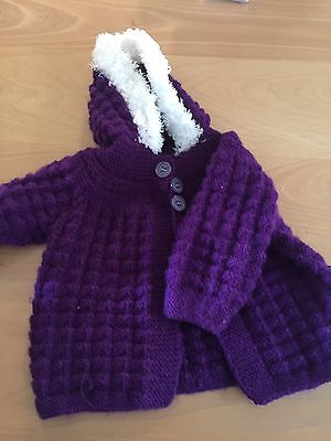 Hand Knitted Baby Clothes - Purple Cardigan