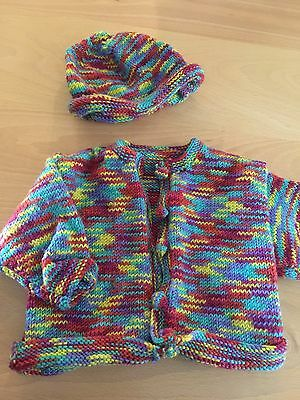 Hand Knitted Baby Clothes - Cardigan And Beanie
