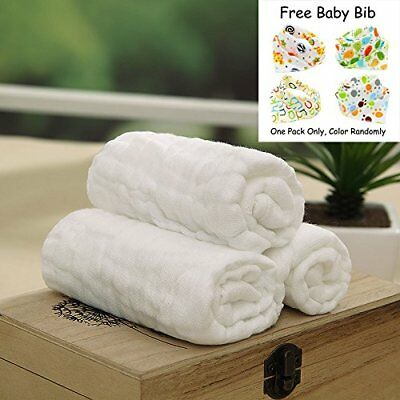 3 Pack Baby Bath Washcloths, 100% Natural Cotton Towels,Gauze,6 layers,Pure Baby