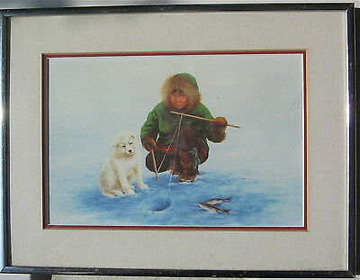 Samoyed With An Eskimo Ice Fishing Framed Gallery Print