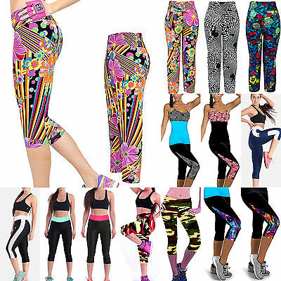Womens Yoga Fitness Leggings Gym Stretch 3/4 Cropped Pants Trousers Sportswear