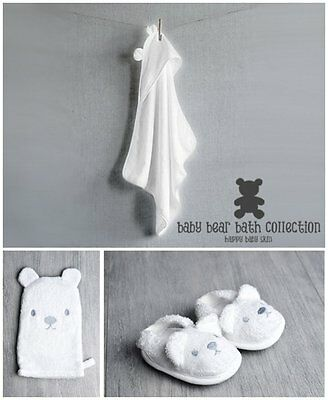 Baby Bear Bath Gift Set with Hooded Towel, Wash Mitt and Slippers - White 4 Cute