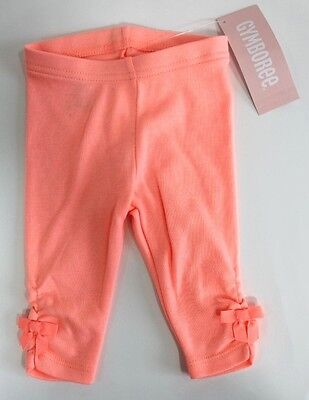 Gymboree Baby Girls Peach Bow Leggings size 3-6 months NWT $14.95