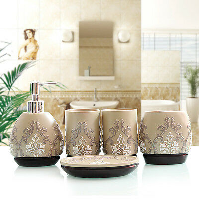 5 Pcs European Bathroom Accessory Sets Toothbrush Holder Cup Soap Dish Dispenser