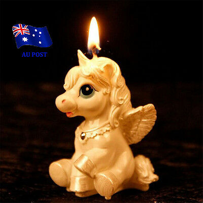 Unicorn Horse Kids Happy Birthday Candle Party Cake Topper Decoration Candle EA