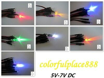 3mm 5V Candle Flicker Pre-Wired Red Yellow Blue Green White Orange UV LED 20CM