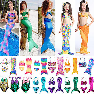 Kids Girls Swimmable Mermaid Tail Swimwear Bikini Beach Swimsuit Fancy Dress