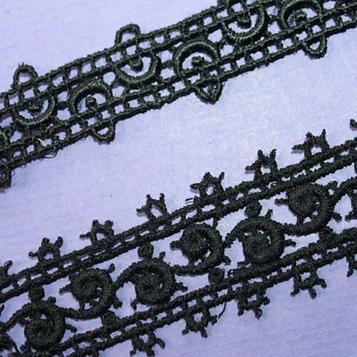 Vintage French Black cotton embroidered lace trim