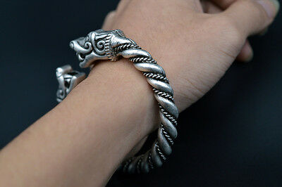 Classic Norse Viking Dragon Handmade Cuff Bangle Antique Silver Bracelet Jewelry