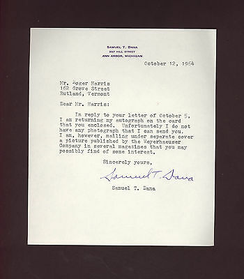 signed letter by Samuel Trask Dana, Dean of Forestry at University of Michigan
