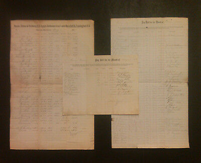 signed * Boston, Clinton & Fitchburg Railroad lot of three documents 1876 & 1877