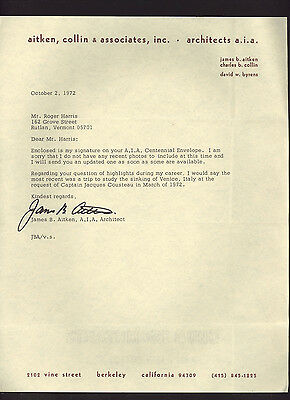 JAMES B. AITKEN * signed letter by noted architect of Aitken Collin & Associates