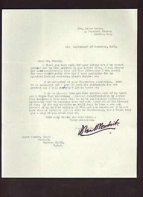 Alan Houghton Brodrick * signed letter by notable British writer * autograph