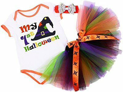 Baby Girls My First HALLOWEEN Witch Romper Set Colourful Tutu, Fancy dress Gift