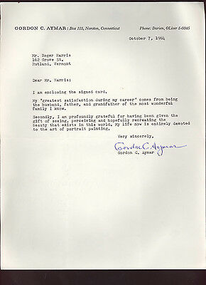 Gordon C. Aymar * signed letter by notable American artist & writer * autograph