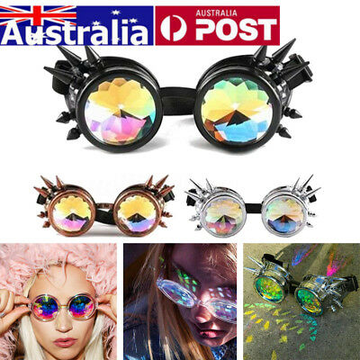 Kaleidoscope Glasses Rave Prism Sunglasses Crystal Lens Steampunk Rainbow Party