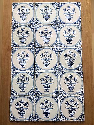 15 X Antique Reclaimed Delft Tiles  Blue & White Hand Painted Flowers In Pot