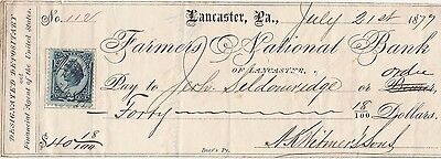 1877  Antique Check   W/revenue  Lancaster, Pennsylvania