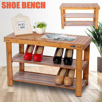 2 Tiers Bamboo Shoe Rack Storage Organiser Wooden Standing Shoes Bench Shelves