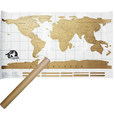 Large Scratch Off Map of the World Poster Wallpaper Personalised Travel Gift UK