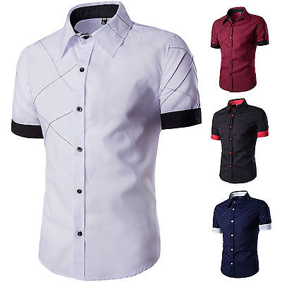 Mens Button Up Formal Slim Fit Dress Shirt Short Sleeve Tops T-Shirt Stylish Tee