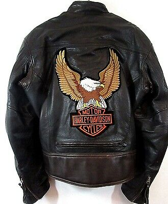 Harley-Davidson Men's Leather Jacket Black Lined HOG Patches Pin Spellout Small