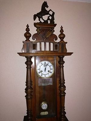 Antique Junghans German Oak Case 8-Day Wall Clock with Chimes