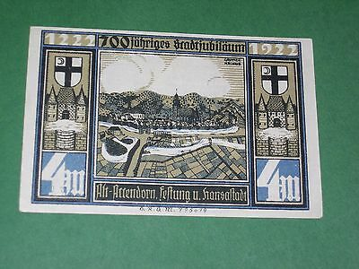 Germany, Attendorn 4 Mark 1922 Notgeld, Unc