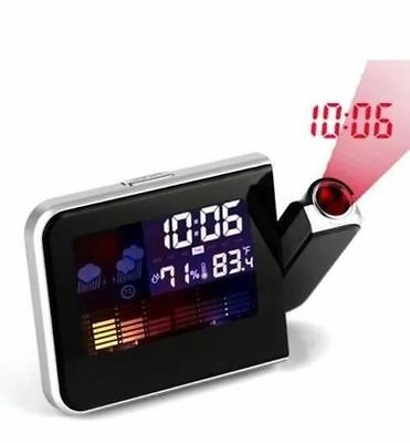 Digital Lcd Colour Screen Weather Station Calendar Alarm Clock Time Projector