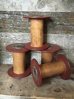 "4 UNIQUE SMALL ANTIQUE WOOD SPOOLS....less Than 4""...primitive Decor"