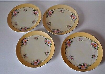 Meito China Hand Painted Plates from Japan Pink Flower Set of (4)