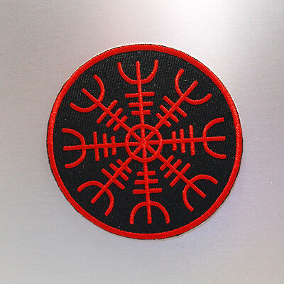 Aegishjalmur Patch — Iron On Badge Embroidered Motif — Norse Stave Sigil Symbol