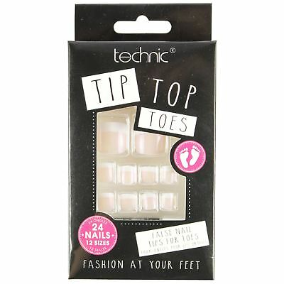 Technic Tip Top Toe 24 False Toe Nails Pedicure French Manicure