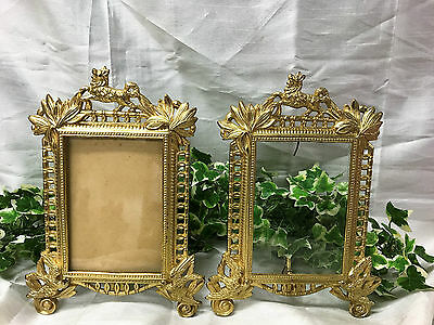 Beautiful Pair Antique Brass Art Nouveau / Deco Picture Frames Beatrice 1040P