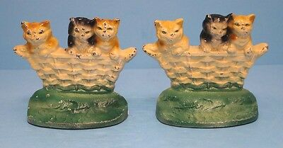 ANTIQUE KITTENS CATS IN BASKET CAST IRON BOOKENDS LANCASTER PA CIRCA 1930's