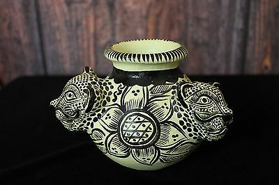 Jaguar Clay Pot, Hand Made Mayan Chiapas Mexico Folk Art Tribal Panther Jungle
