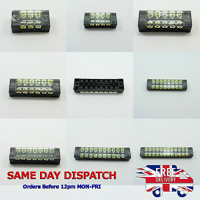 Dual Row Covered Electric Barrier Screw Fixed Terminal Block Positions 600V 15A
