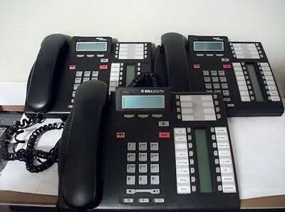 Lot of 3 Nortel T7316E Display Telephone NT8B27 Charcoal W/Stands