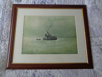 limited edition 6/50 artists proof Derrick Hughes Fowey Cornwall seascape framed