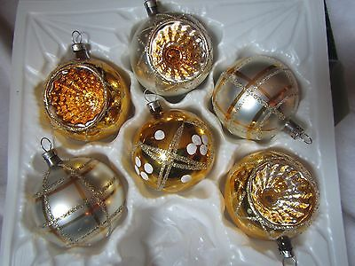Vintage Lot Of 6 Silver & Gold Indent & Round Glass Tree Xmas Ornaments - Czech