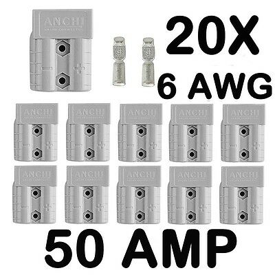 20 x Anderson Style 50 AMP Plug Connectors HD Springs DC Power 12-24V 6AWG