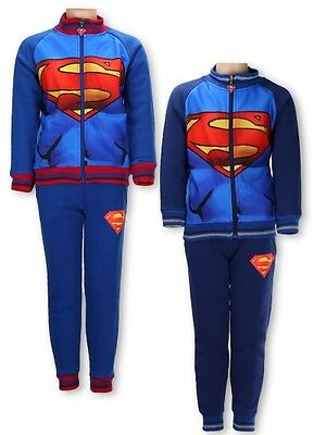 New Boys Superman Tracksuit Jogging Fleece Set, Character Clothes 6 - 12 Years