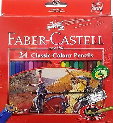 Faber-Castell 24 Classic color Pencils includes classic gold