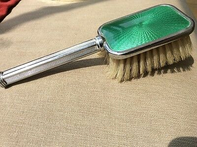 Vintage ladies 1930's? silver & green backed hairbrush