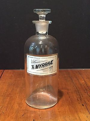 Antique Tinture Myrrhae Glass Apothecary Bottle with Stopper c. 1800s