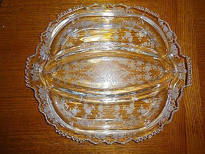 "Cherokee Rose by Tiffin Glass Co. 12 1/2"" 3 part Relish Dish"