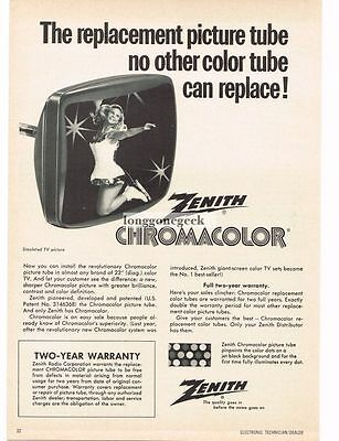 1970 Zenith Chromacolor Color TV Replacement Picture Tubes Vtg Print Ad