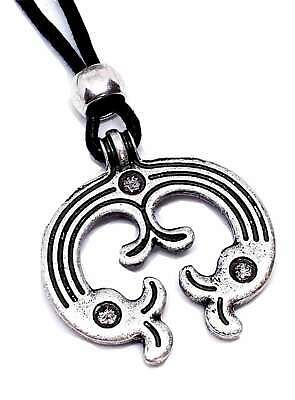 Slavic Lunula Pendant Moon Viking Heathen Asgard Talisman Beaded corded Necklace