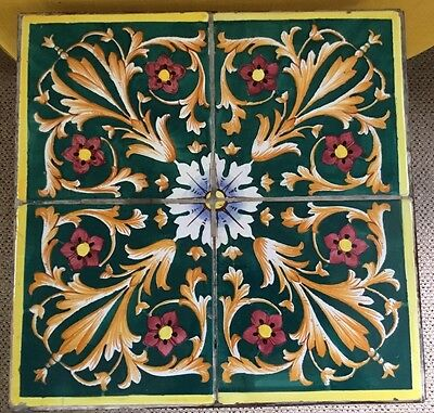 Antique Green,yellow,red Flowers & Scrolls Tile Top & Wrought Iron Table