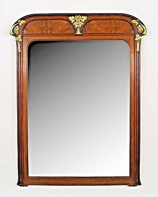 French Art Nouveau Walnut Beveled Glass Wall Mirror